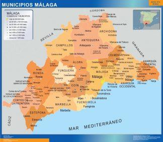 Carte communes province Malaga affiche murale