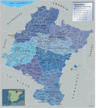 Carte communes province Navarra affiche murale