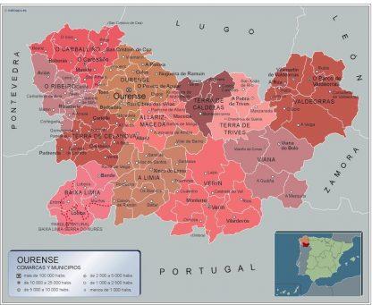 Carte communes province Ourense affiche murale