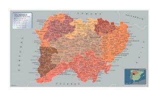 Carte communes province Salamanca affiche murale