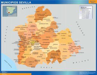 Carte communes province Sevilla affiche murale