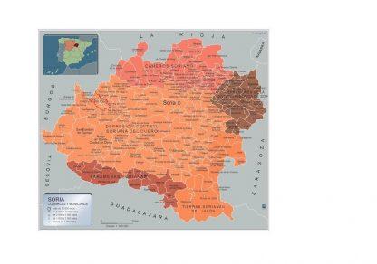 Carte communes province Soria affiche murale
