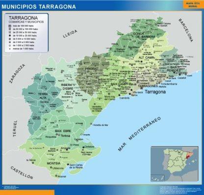 Carte communes province Tarragona affiche murale