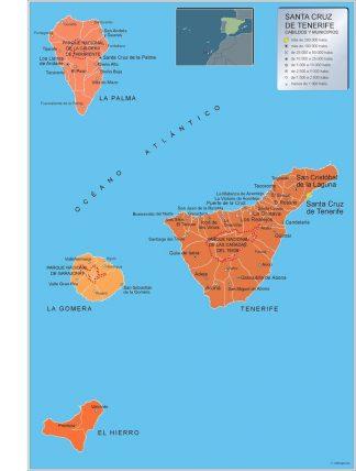Carte communes province Tenerife affiche murale