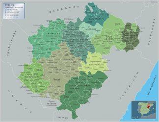 Carte communes province Teruel affiche murale