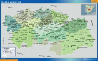 Carte communes province Toledo affiche murale