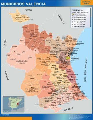 Carte communes province Valencia affiche murale