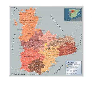 Carte communes province Valladolid affiche murale