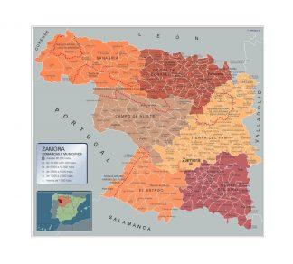 Carte communes province Zamora affiche murale