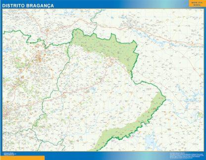 Carte district Bragança affiche murale