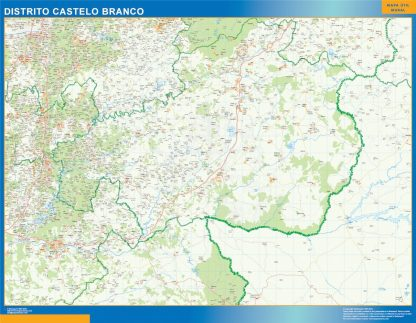 Carte district Castelo Branco affiche murale