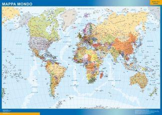 Carte monde plastifiée italien affiche murale