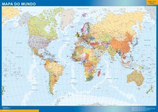 Carte monde plastifiée portugais affiche murale