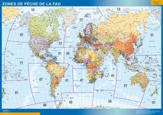 Carte monde zones peche FAO affiche murale