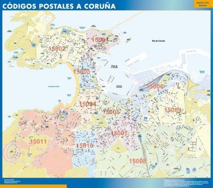 Carte A Coruna codes postaux affiche murale