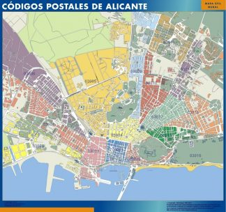 Carte Alicante codes postaux affiche murale