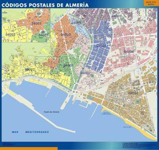 Carte Almeria codes postaux affiche murale