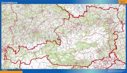 Carte Autriche affiche murale