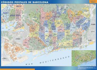 Carte Barcelona codes postaux affiche murale