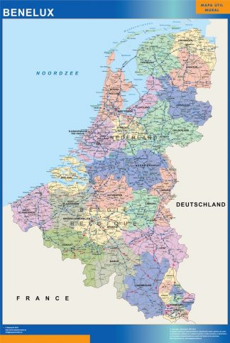 Carte Benelux affiche murale