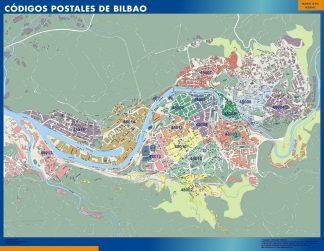 Carte Bilbao codes postaux affiche murale
