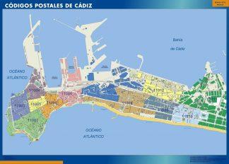 Carte Cadiz codes postaux affiche murale
