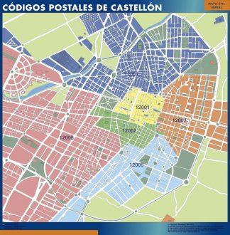 Carte Castellon codes postaux affiche murale