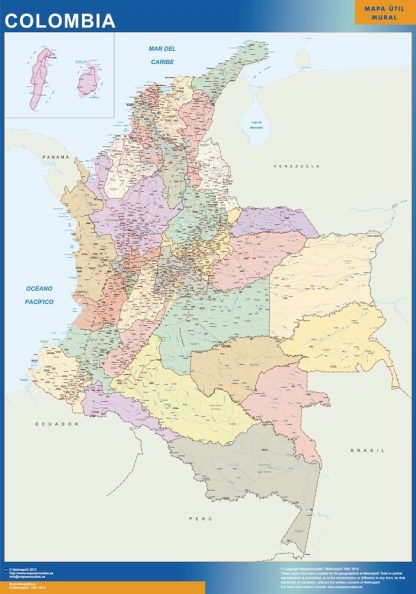 Carte Colombie affiche murale
