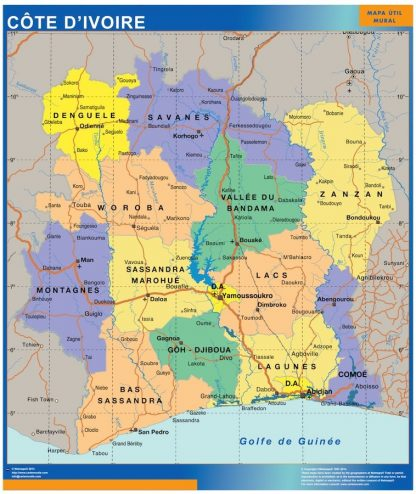 Carte Cote Ivoire affiche murale