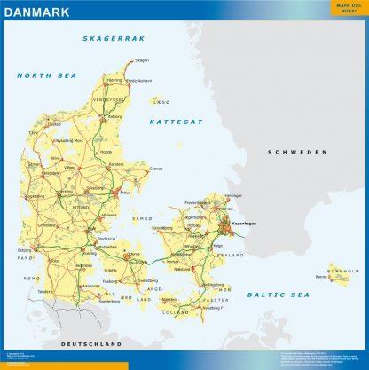 Carte Danemark affiche murale