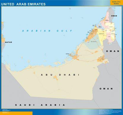 Carte Emirats Arabs Unis affiche murale