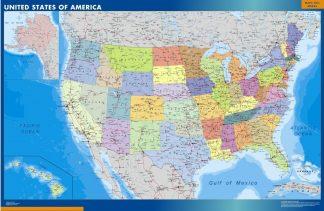 Carte Etats Unis affiche murale