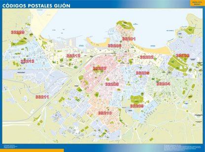 Carte Gijon codes postaux affiche murale