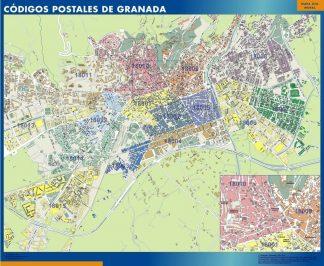 Carte Granada codes postaux affiche murale