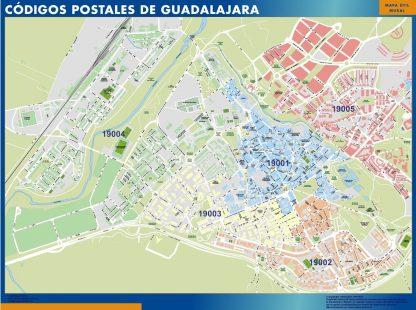 Carte Guadalajara codes postaux affiche murale