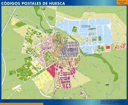 Carte Huesca codes postaux affiche murale