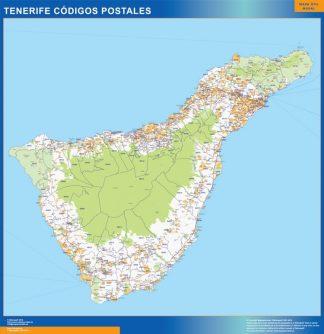 Carte Isla Tenerife codes postaux affiche murale