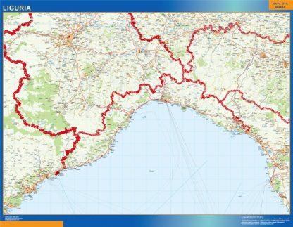 Carte Liguria affiche murale