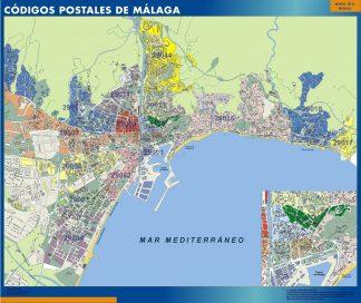Carte Malaga codes postaux affiche murale