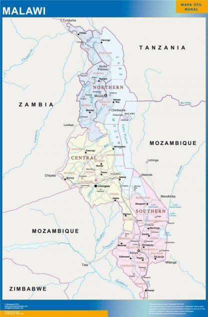 Carte Malawi affiche murale