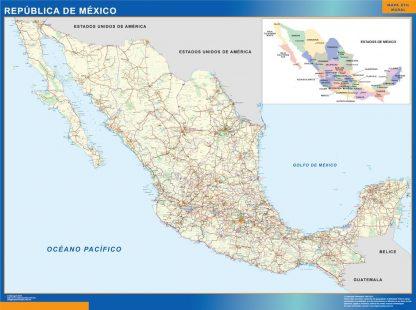 Carte Mexique affiche murale
