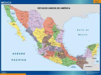 Carte Mexique Politique affiche murale