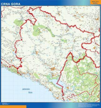 Carte Montenegro affiche murale