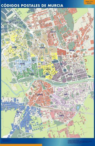 Carte Murcia codes postaux affiche murale