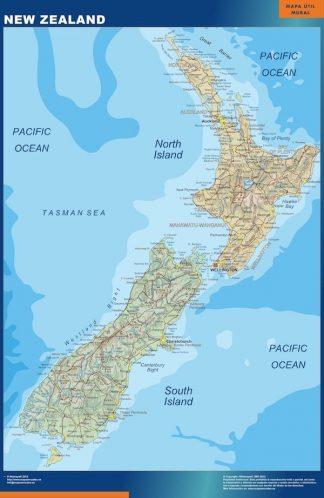 Carte Nouvelle Zelande affiche murale