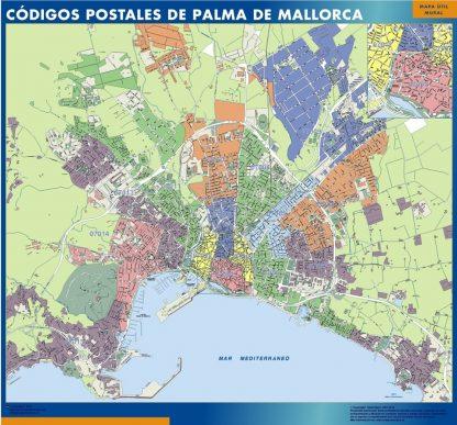 Carte Palma de Mallorca codes postaux affiche murale