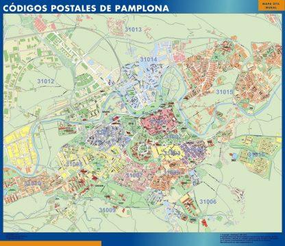 Carte Pamplona codes postaux affiche murale