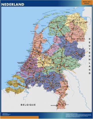 Carte Pays Bas affiche murale