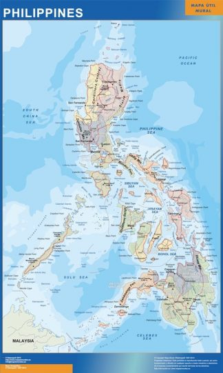 Carte Philippines affiche murale