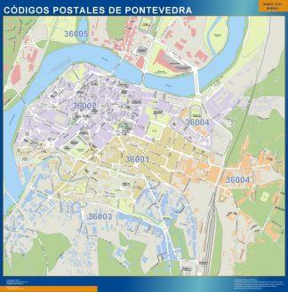 Carte Pontevedra codes postaux affiche murale